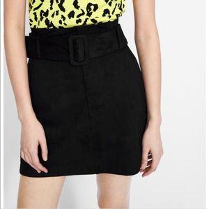 Zara Black Belted Paperbag FauxSuede Mini Skirt XS